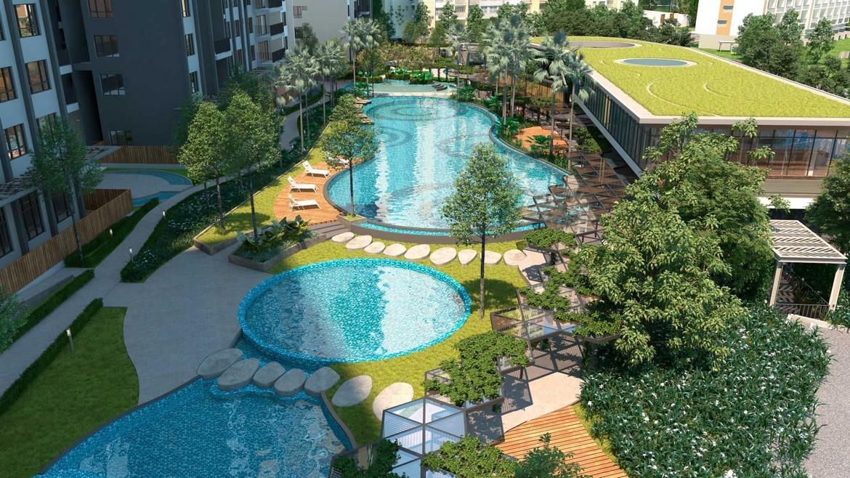 Hồ bơi resort dài 50m tại dự án căn hộ Palm Spring quận 2 - Palm City Keppel Land.