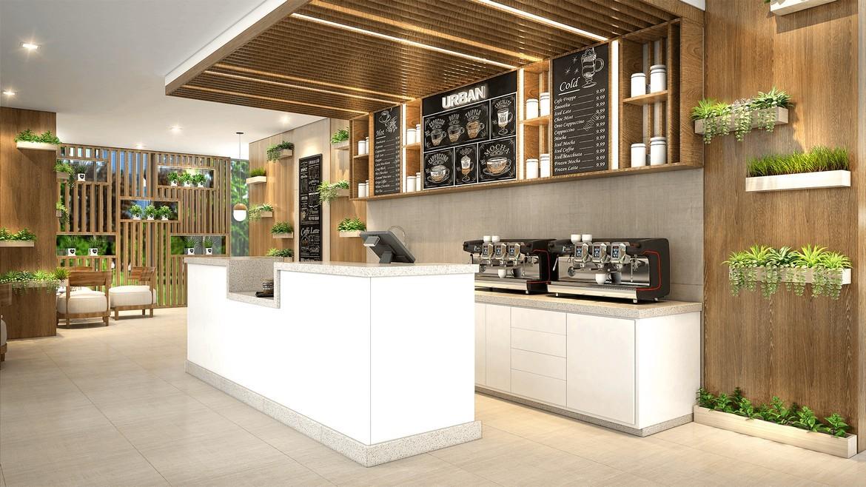 Một góc khu vực cafe tại dự án căn hộ Palm Spring quận 2 - Palm City Keppel Land.